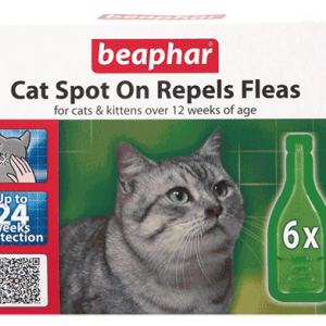 Beaphar Cat Spot On Repels Fleas 24 Week Protection - - 6 Pipettes