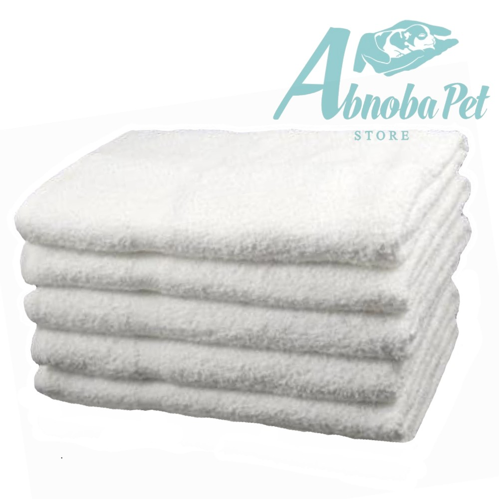 5 x Small White cotton Towels Perfect size for whelping puppies and kittens