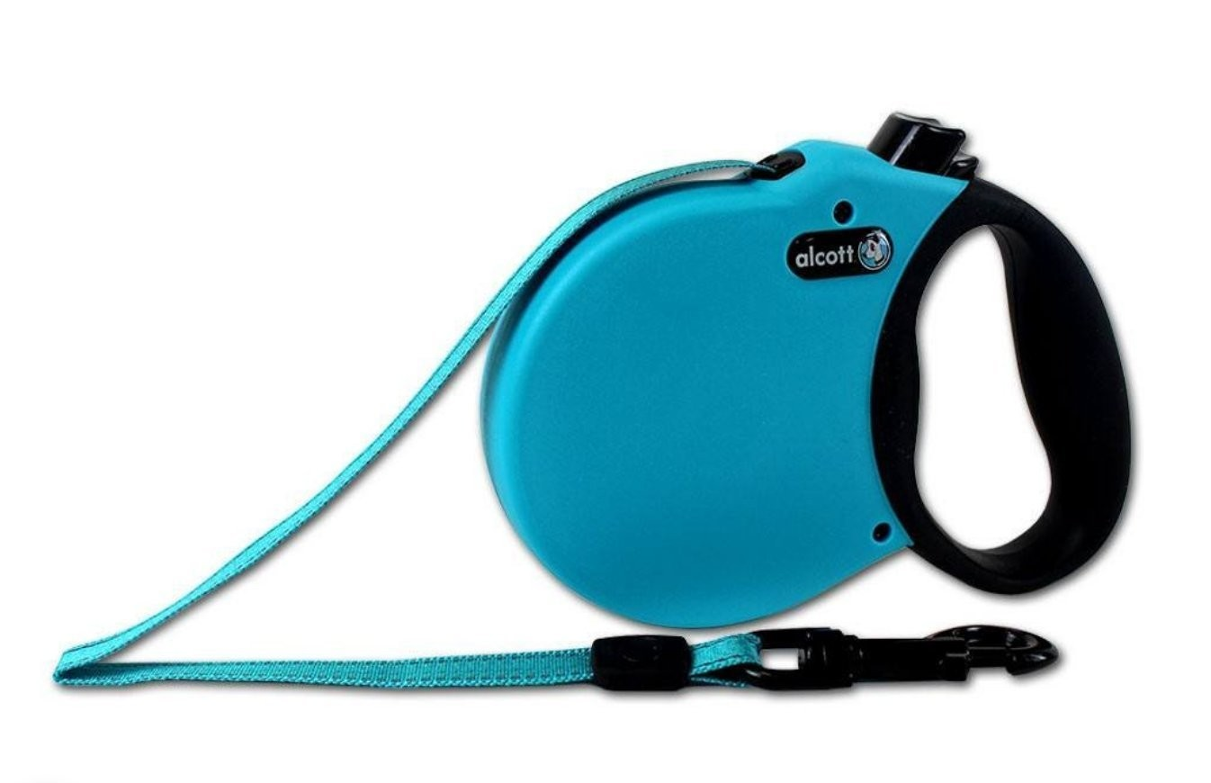 (XS - Up to 25lbs, Blue) Alcott Adventure Retractable Lead Soft Grip Handle Reflective - Matching Collars