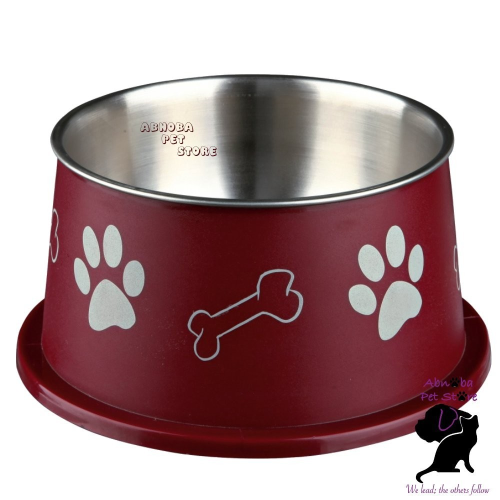 (burgundy) Trixie Long Ear Bowl For Spaniel Type Dog Food Or Water Stainless Steel non-slip