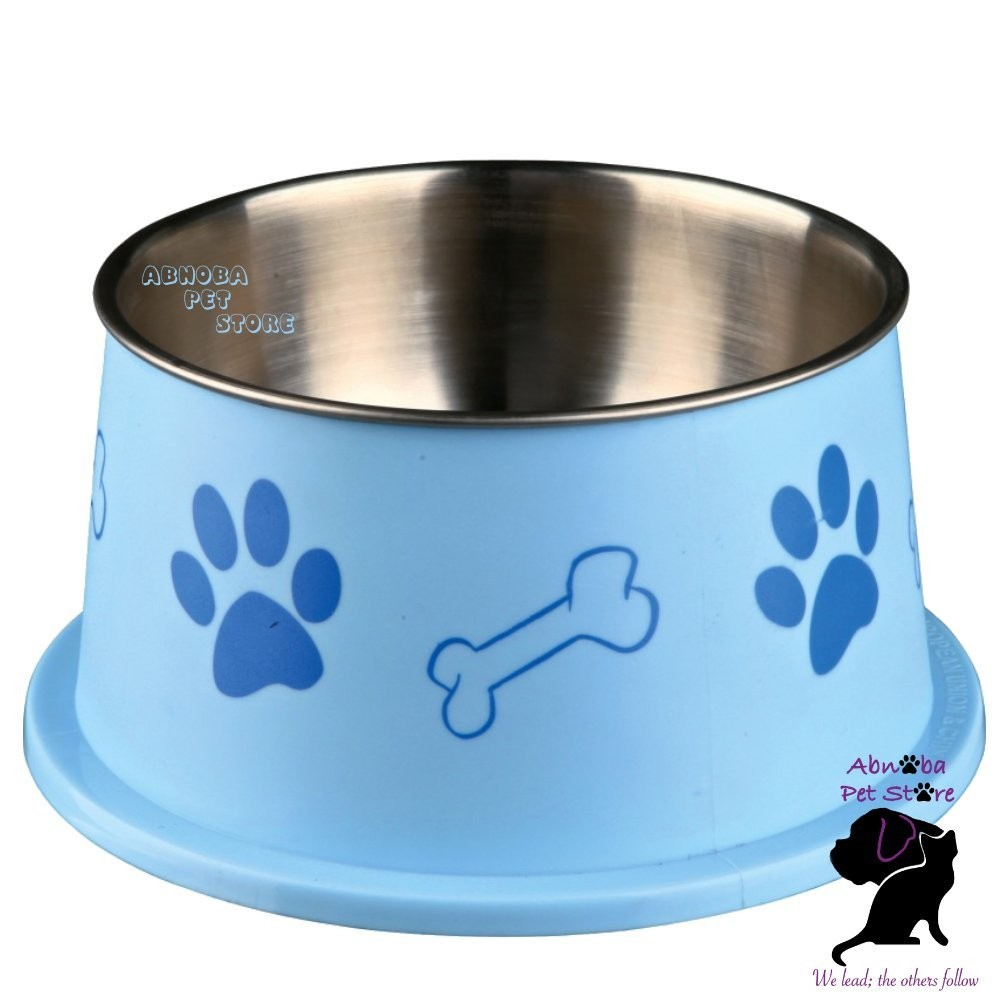 (Blue) Trixie Long Ear Bowl For Spaniel Type Dog Food Or Water Stainless Steel non-slip
