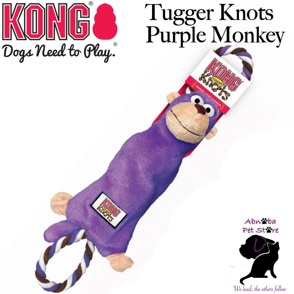 PURPLE MONKEY Small/ Medium Kong Tugger Knots interactive tug & shake toys dogs love knotted ropes inside