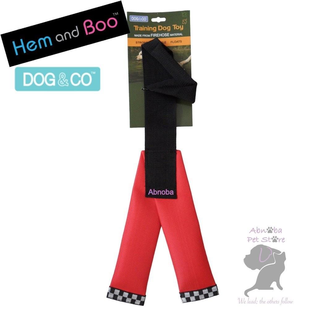 RED Hem & Boo FIREHOSE Y SHAPE Dog Training Toy Dog & Co tightly woven nylon shell