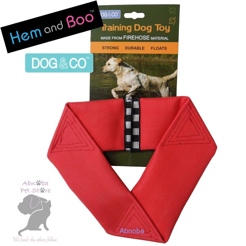 YELLOW Hem & Boo FIREHOSE FLYER Strong Durable Floats Dog & Co Training Toy Nylon Shell