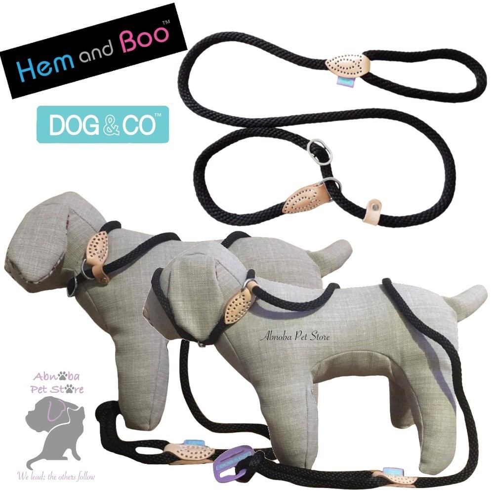 """(60"""" 8mm, Black) Hem & Boo Dog & Co Soft Touch Rope Collar & lead in one Figure 8 Halter Option"""