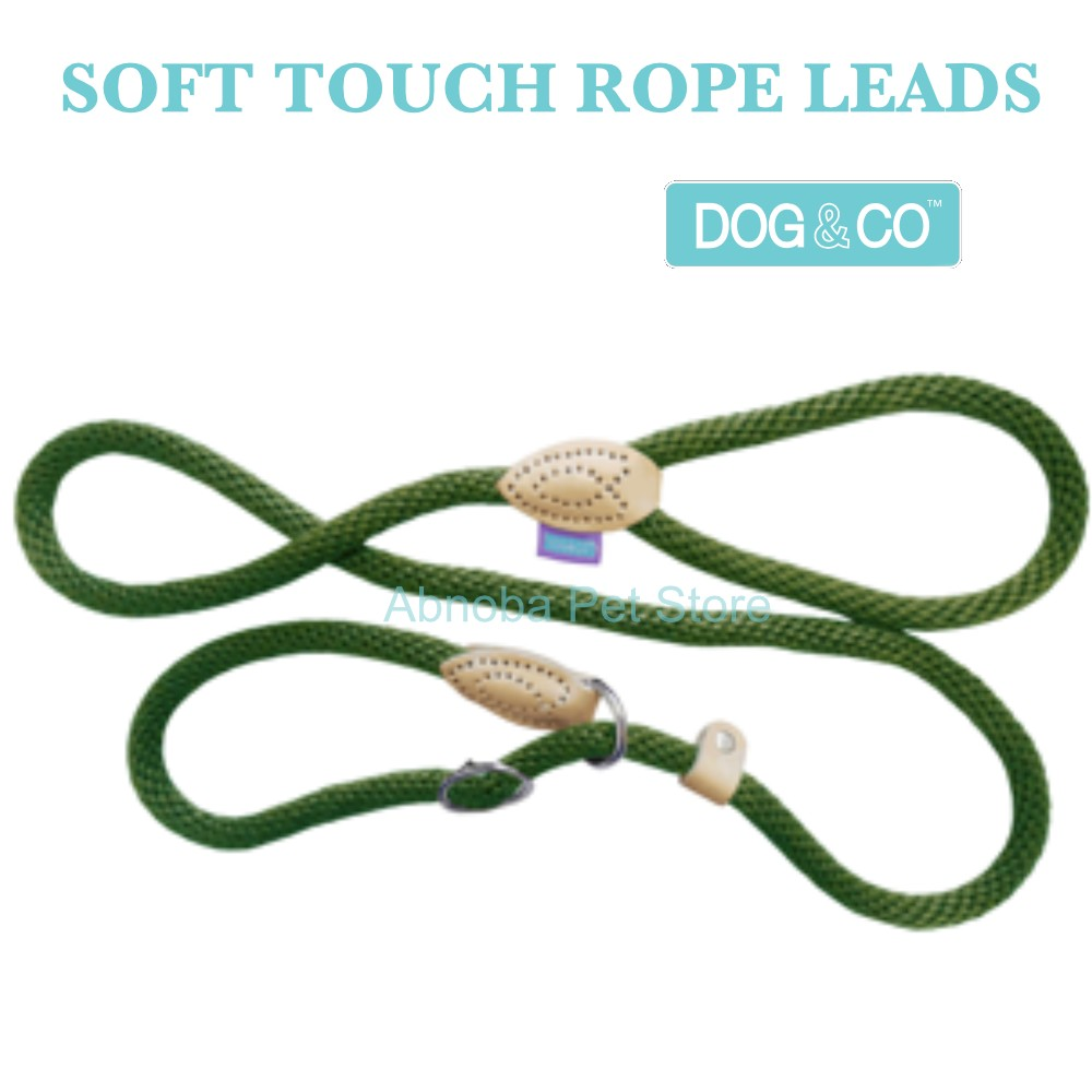 """60"""" 8mm, GREEN - Hem & Boo Dog & Co Soft Touch Rope Collar & lead in one Figure 8 Halter Option"""