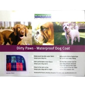Rosewood Dirty Paws waterproof dog coat Blue – 20″ x 18″