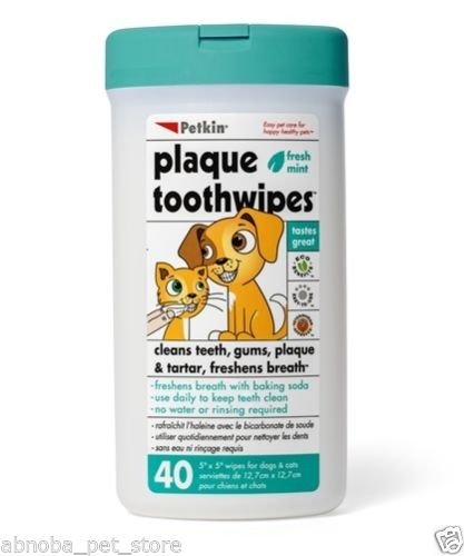 Plaque Remover Toothwipes Cleans Teeth Gums Freshens Breath Dog Cat Vet Approved (40)