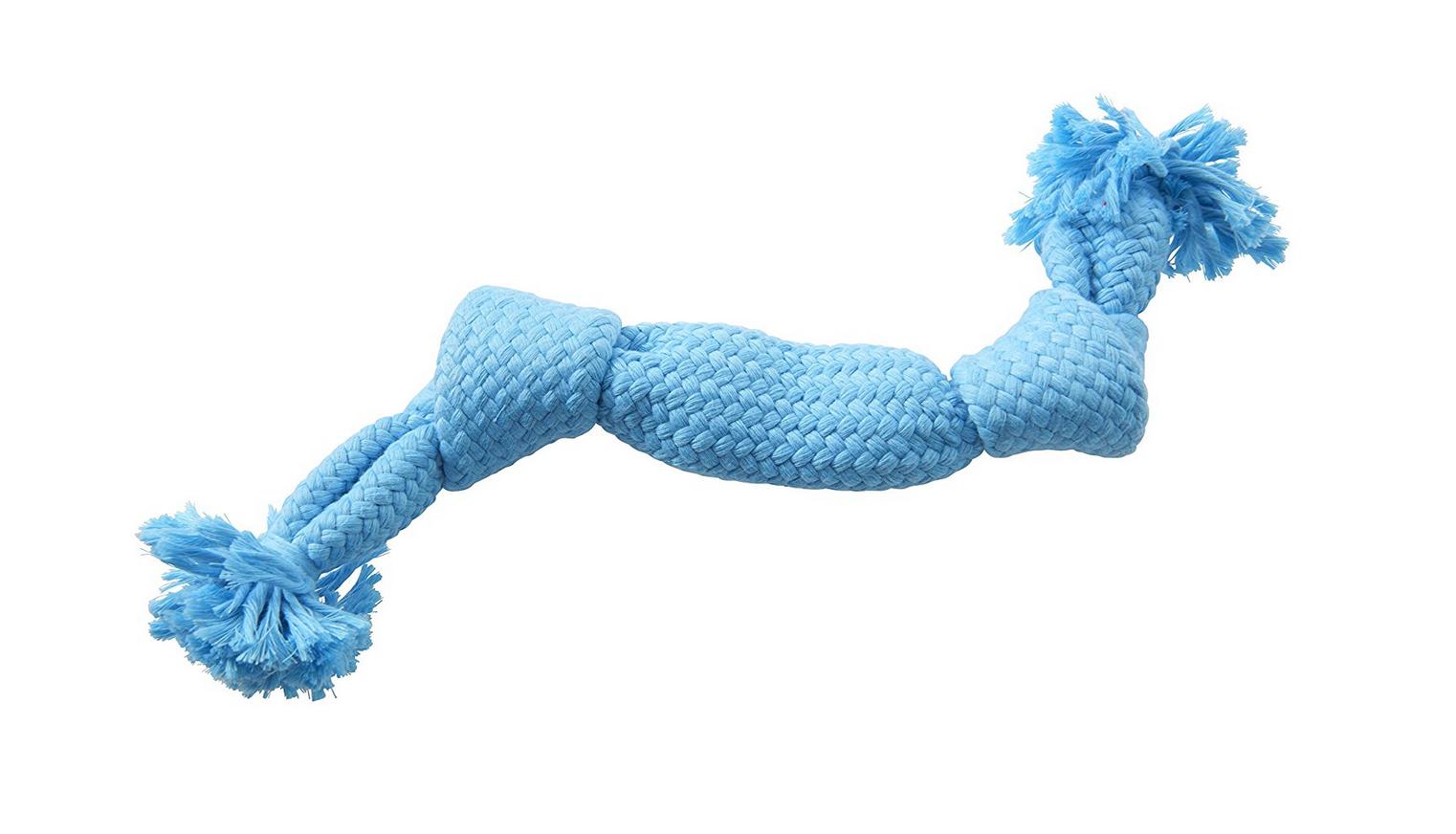 (Medium - 35cm, Light Blue) BUSTER Colour Squeak Rope Soft cotton interactive throwing games