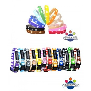 12 Wagging Tailz Velcro Puppy Whelping Bands & Tiny Totz Follow on Collars Set Hearts Design