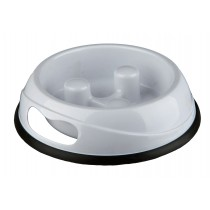 Slow Feed Plastic Bowl Dog 0.45 l/ø 20 cm - WHITE