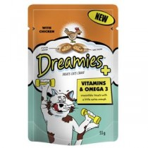 Dreamies Vitamins & Omega 3 Treats – Chicken