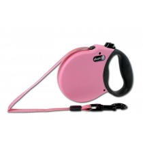 (XS - Up to 25lbs, Pink) Alcott Adventure Retractable Lead Soft Grip Handle Reflective - Matching Collars