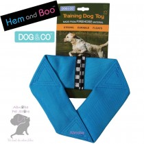 BLUE Hem & Boo FIREHOSE FLYER Strong Durable Floats Dog & Co Training Toy Nylon Shell