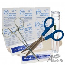 BUDGET Whelping Kit – Tray, Scissors, Wipes, Lube, Forceps & Thermometer