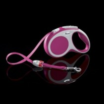 Flexi Vario PINK SMALL 5 m/16 ft tape leash up to 15 kg/33 lbs Soft grip