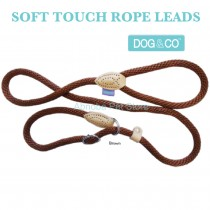 "60"" 14mm, BROWN - Hem & Boo Dog & Co Soft Touch Rope Collar & lead in one Figure 8 Halter Option"