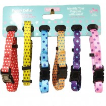 6 Puppy Whelping Collars Spots Design - XS 15-25cm